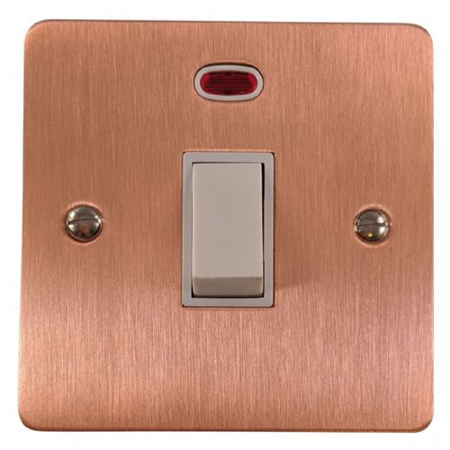 G&H FRG26W Flat Plate Rose Gold 1 Gang 20 Amp Double Pole Switch & Neon
